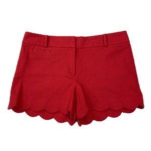 "LOFT 4"" Shorts Scalloped Hem Reddish Pink Size 12"